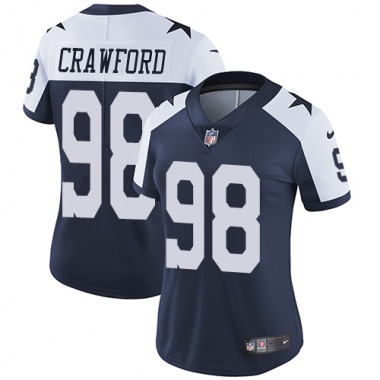 Women's Nike Dallas Cowboys Tyrone Crawford Throwback Alternate Jersey - Navy Blue Limited
